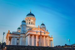 Helsinki Cathedral - Helsingin tuomiokirkko is the Finnish Evang Stock Photos
