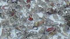 Silver jewelry stall Stock Footage