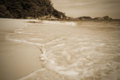 Blurred beach in sepia colour - stock photo