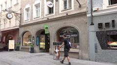 4k Salzburg city center and city life Austria Stock Footage