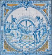 Azulejo tiles as a decor - stock photo