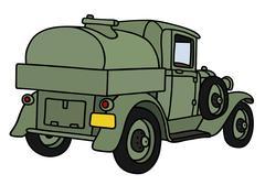 Vintage military tank truck - stock illustration