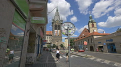 Henry's Tower (Jindřišská věž), the largest freestanding bell tower, Prague - stock footage