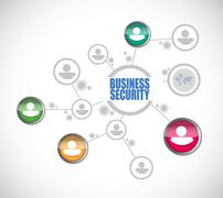 Stock Illustration of Business security network diagram sign concept