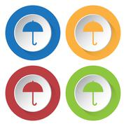 Set of four square icons with umbrella Stock Illustration