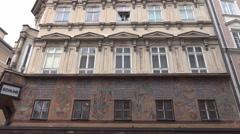 4k Salzburg city building playing cards storefront tilt Stock Footage
