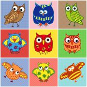 Nine amusing owls over square seamless patterns - stock illustration