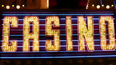 Vegas Casino Sign in Lights Stock Footage