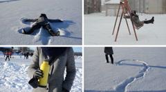 Angel and heart shape on snow. snow fall. Tea drink. Girl swing Stock Footage