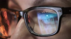 Woman eye looking monitor, surfing Internet Stock Footage