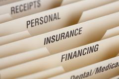 Close Up Of Folder For Household Bills - stock photo