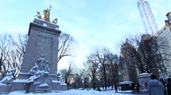 Entrance to central Park in Winter Stock Footage