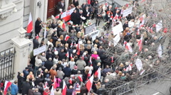 Polish Embassy with Crowd Stock Footage