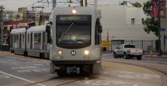 Downtown Los Angeles Metro Train Pulls Into Little Tokyo Medium-CU Stock Footage