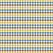 Blue, Brown, Yellow Polka Dot  Abstract Design Tile Pattern Repeat Background Stock Illustration