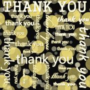 Thank You Design with Yellow and Black Polka Dot Tile Pattern Repeat Backgrou - stock illustration