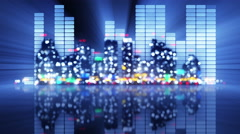 Blurred equalizer and night city loopable party animation 4k (4096x2304) Stock Footage