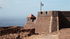 Old portuguese fort from the discoveries in Cape Verde, Africa Stock Footage