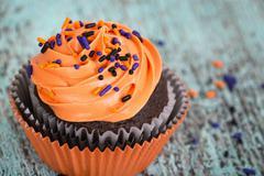 Closeup of Halloween cupcake - stock photo