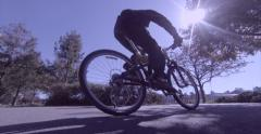 Bicycling and rollerblading on sunny day - stock footage