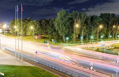 Transport metropolis, traffic and blurry lights Stock Photos