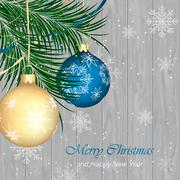 Merry Christmas and Happy New Year vector background. Wooden texture, snow, s Piirros