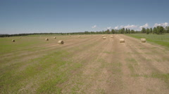 Bundles of Hay - Farm Landscape Stock Footage