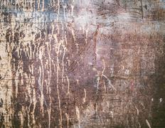 Rusty texture with dripping paint - stock photo