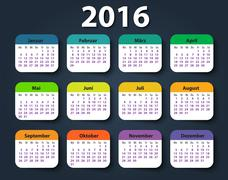 Calendar 2016 year German. Week starting on Monday - stock illustration