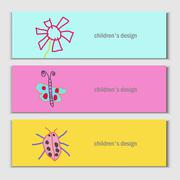 Flower, butterfly, ladybug. Beautiful vector children drawings - stock illustration