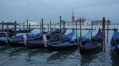 Gondolas shake on water the Grand Canal, Venice Stock Footage