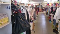 A view inside a flea market, at a drift shop Stock Footage