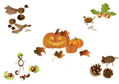 Handicraft in autumn - stock illustration