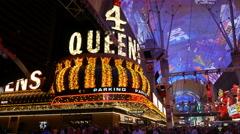 Four Queens Casino Fremont Las Vegas Stock Footage