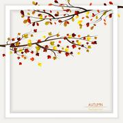 Autumn frame decoration - stock illustration