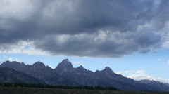 Grand Tetons National Park, Peaks, Clouds, Time Lapse Stock Footage