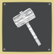 Vector hammer icon. Epschalk drawn in sketch style0 - stock illustration
