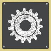 Vector cogwheel icon. Epschalk drawn in sketch style0 - stock illustration