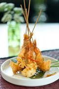 Thai Tempura Shrimp Skewers - stock photo