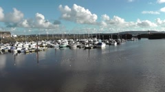 Burry Port harbour on a sunny day Stock Footage