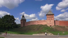 The external wall (in 4k) of the Kremlin in Veliky Novgorod, Russia. Stock Footage