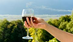 Glass of red wine exposed towards the sun - stock photo