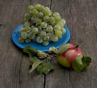 Still life a blue plate with grapes and one apple on the right Stock Photos