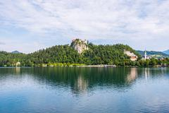 Bled Castle at Bled Lake in Slovenia Reflected on Water Stock Photos