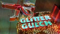 Girls of Glitter Gulch Neon Sign Las Vegas Stock Footage