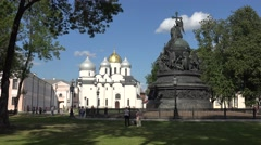 The Cathedral of St. Sophia, the Kremlin, Veliky Novgorod, Russia. Stock Footage