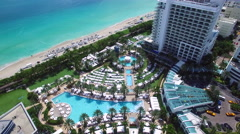 Aerial video Fontainebleau Hotel pool 2 Stock Footage