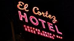 El Cortez Las Vegas Red Neon Stock Footage