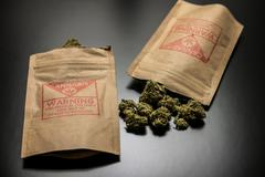 Legal Cannabis Flowers and Packages - stock photo