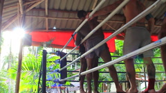 Muay Thai Boxing Clinch Training In Gym Ring Tropical Sunny Lens Flare Hand Held Stock Footage